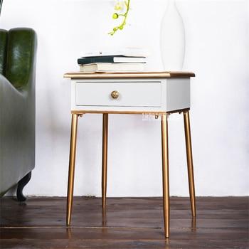 HF001 Solid Wood Small Bedside Cupboard Modern Simple Nightstand Bedroom Night Table lron Frame Bedside Storage Cabinet Locker