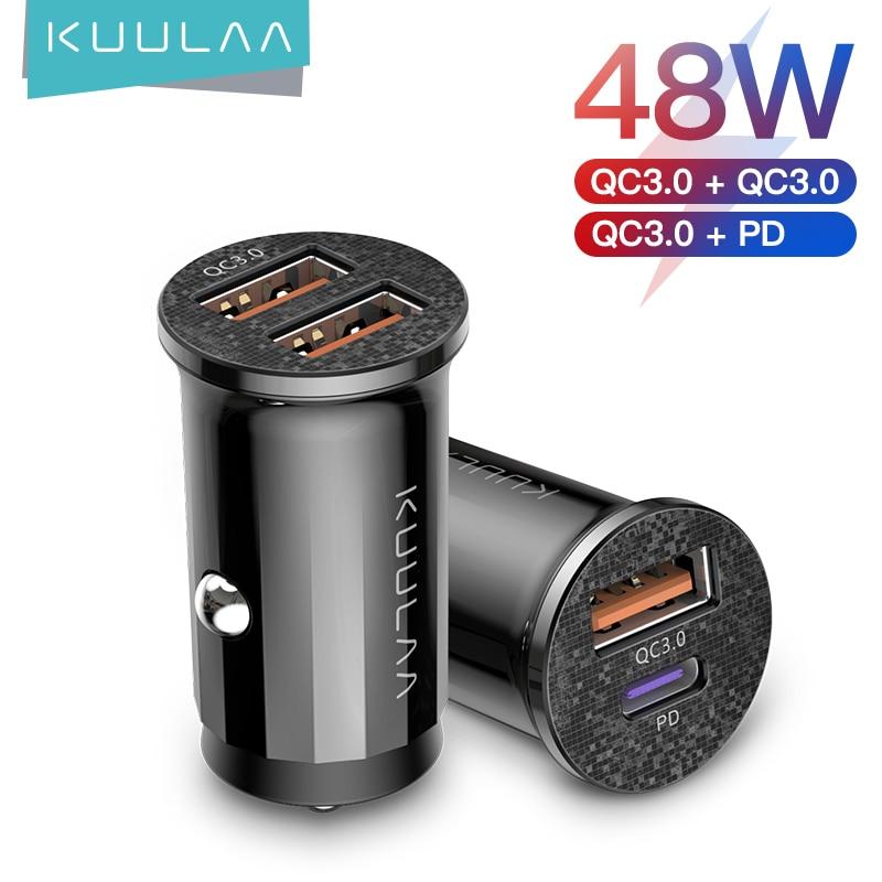 Kuulaa mini usb carregador de carro carga rápida 4.0 pd 3.0 36w carregador de carregamento rápido para iphone huawei xiaomi mi tipo c telefone móvel