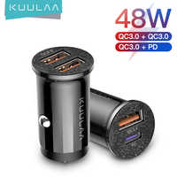 KUULAA-Mini cargador USB para coche, cargador de carga rápida 4,0 PD 3,0 36W, para iPhone, Huawei, Xiaomi, Mi tipo C