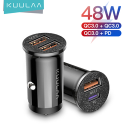KUULAA Mini USB Car Charger Quick Charge 4.0 PD 3.0 36W Fast Charging Charger For iPhone Huawei Xiaomi Mi Type C Mobile Phone