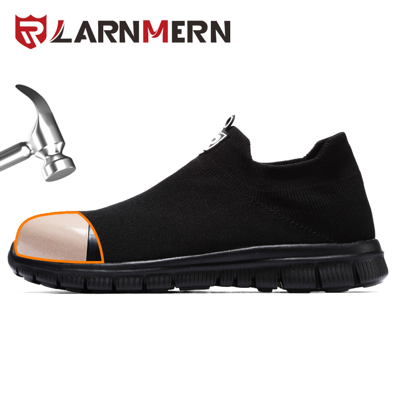 LARNMERN Men's Work Safety Shoes Steel Toe Construction Protective Footwear Breathable Lightweight Anti-smashing Non-slip Shoes