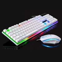 Hot 2.4G USB Wired USB Lighting Keyboard Mouse Sets Portable Mechanical Feel Computer Keyboard Mouse Sets For LP\\\\PC Computer