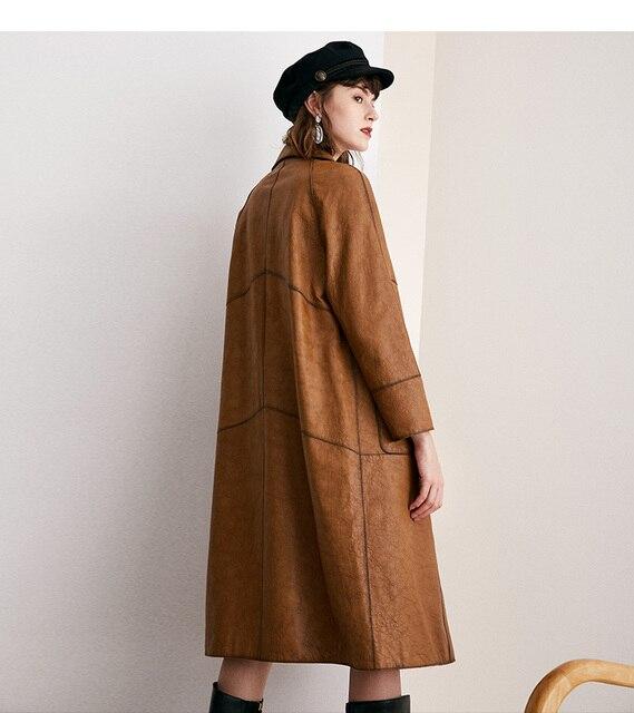 หนังผู้หญิงสั้นหัวรถจักร 100% Sheepskin Slim Coat ขนาดกลางยาว