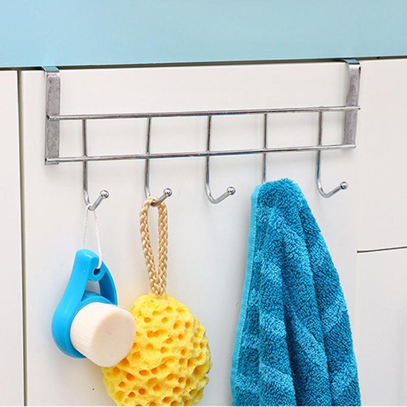 5 Hooks Bathroom Kitchen Door Hanger Rack Organizer Storage Door Clothes Hanger Hooks 10kg Bearing Over Door Rack Towel Hold
