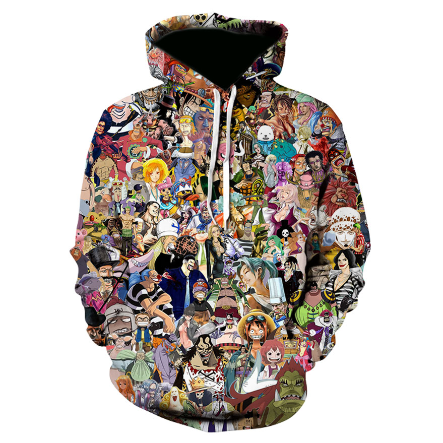2019 New Hot Sell Cartoon 3D Print One Piece Anime Style Funny Hoodies Sweatshirt Lovely Mens Pullover Hooded Streetwear Hip Hop