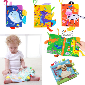 Soft Baby Cloth Book Infant Early Learning Educational Development Animal BB Fabric Books for Kids Rattle Toys Baby Book Newborn baby toys infant baby book early development cloth books for kids learning education activity quite books animal tails dinosaur
