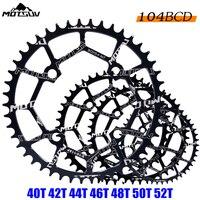 Motsuv 자전거 크랭크 104bcd 40/42/44/46/48/50/52 t 산악 자전거 chainwheel mtb 자전거 crankset 알루미늄 chainring 자전거 부품 chainwheel mtb bicycle crankbike crankset -