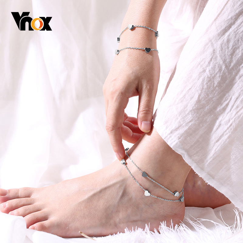 Vnox Elegant Double Heart Charm Chain Anklets for Women Lady Holidays Jewelry Anti Allergy Stainless Steel Gifts for Her