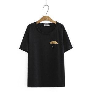 Nueva camiseta para mujer, camisetas 2019, camisetas para mujer, cuello redondo, apliques de manga corta