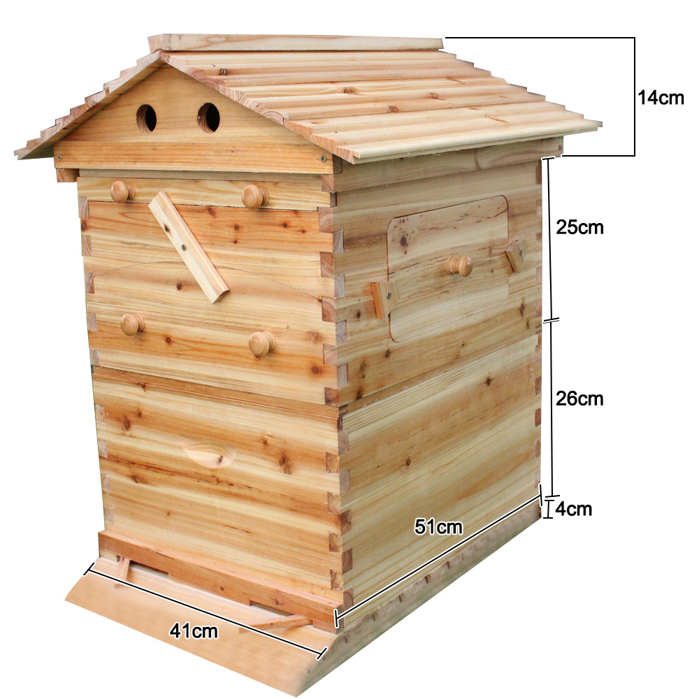 Automatic Wooden Bee Hive House Wooden Bees Box Beekeeping Equipment Beekeeper Tool for Bee Hive Supply 66*43*26cm High Quality