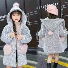 Зимний свитер для девочек; зимняя хлопковая детская верхняя одежда для девочек; одежда для детей ясельного возраста; повседневное шерстяное пальто в клетку с отложным воротником