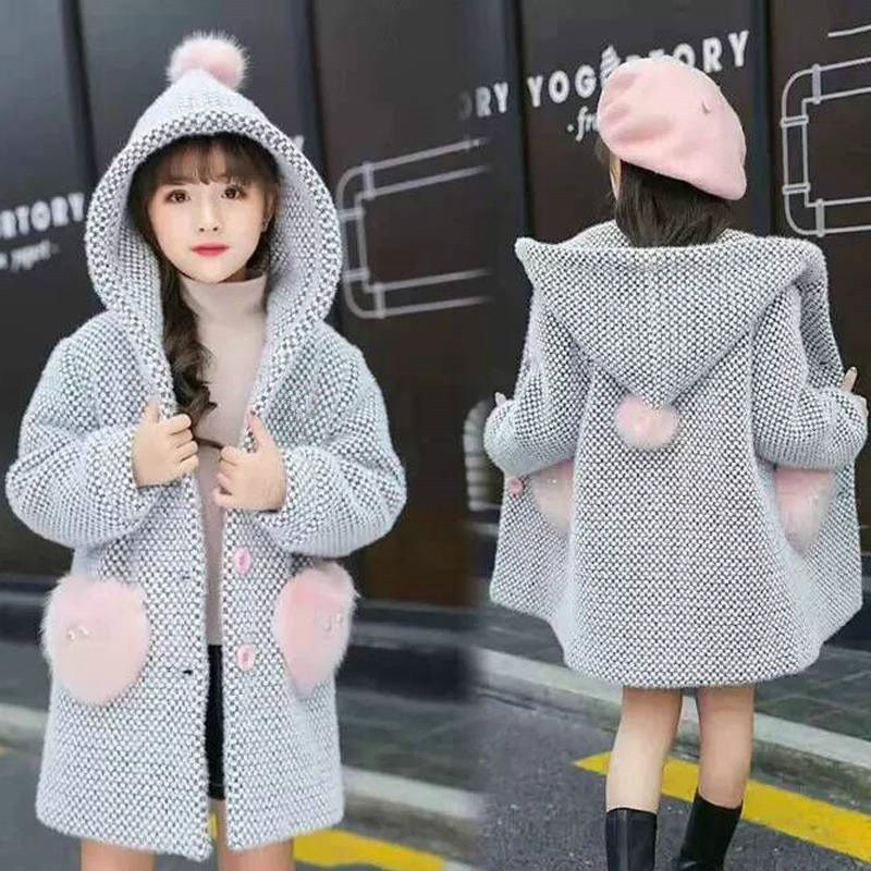 Girl Winter Sweater Winter Girls Cotton Kid Outerwear Clothes Toddler Children Clothes Casual Turn-down Collar Plaid Woolen Coat