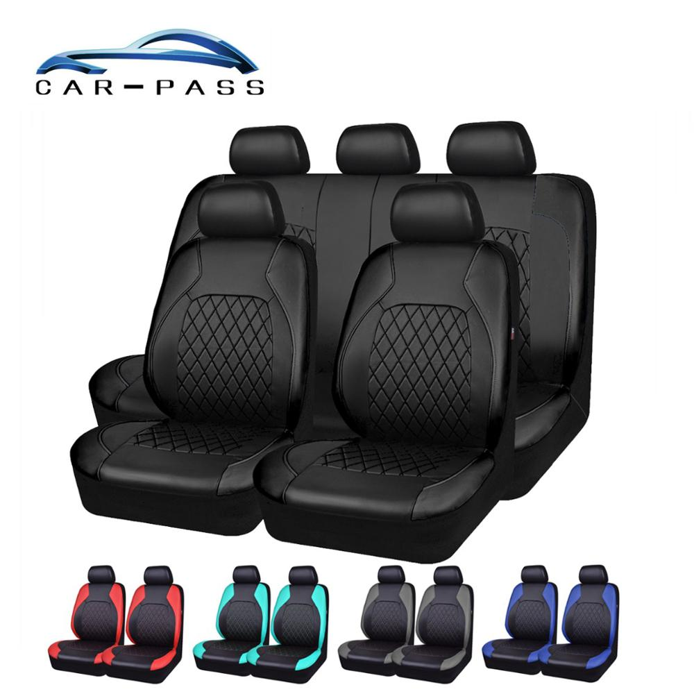 Автомобильные чехлы из искусственной кожи универсальные чехлы для автомобильных сидений подушки безопасности совместимые водонепроницаемые автомобильные аксессуары для интерьера подходят для большинства автомобилей Чехлы на автомобильные сиденья      АлиЭкспресс