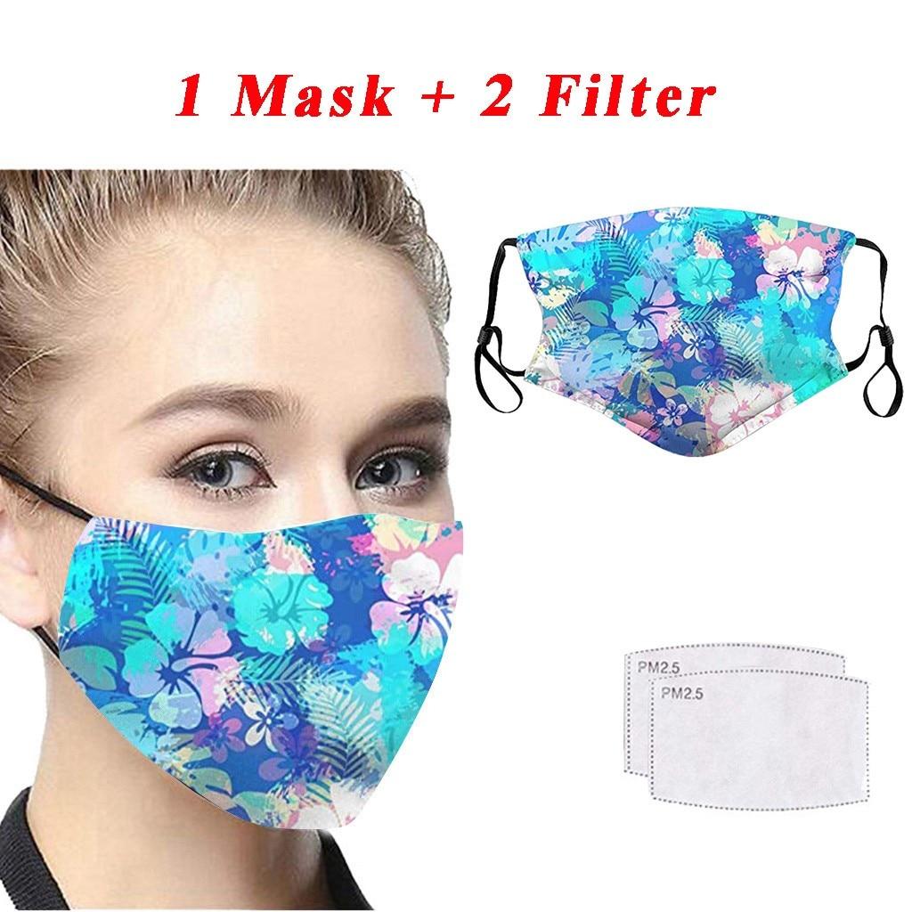 Fashion Printing Dustproof Windproof Fog Haze PM2.5 Can Put Filter Mask#w