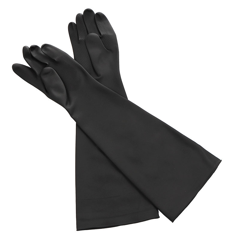 Black Work Gloves Anti Acid Alkali Chemical Resistant Rubber Hot Accessories