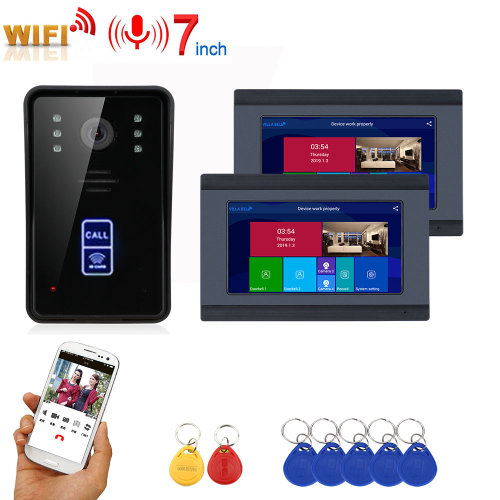 7inch Wireless Wifi RFID Video Door Phone Intercom Entry System With Wired IR-CUT 1080P Wired Camera Night Vision