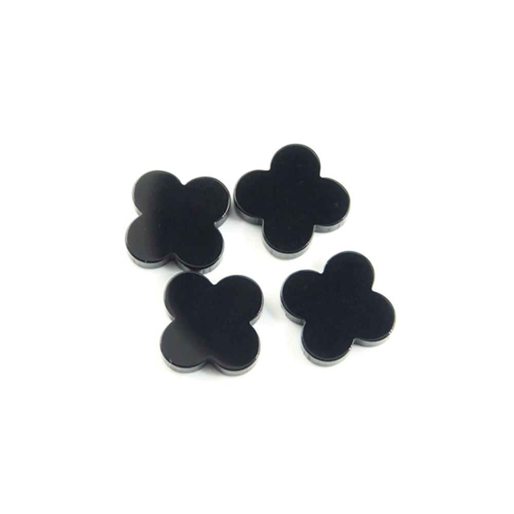 10*10mm 50 pièces/beaucoup de pierres précieuses d'agate d'onyx noir trèfle à quatre feuilles de haute qualité