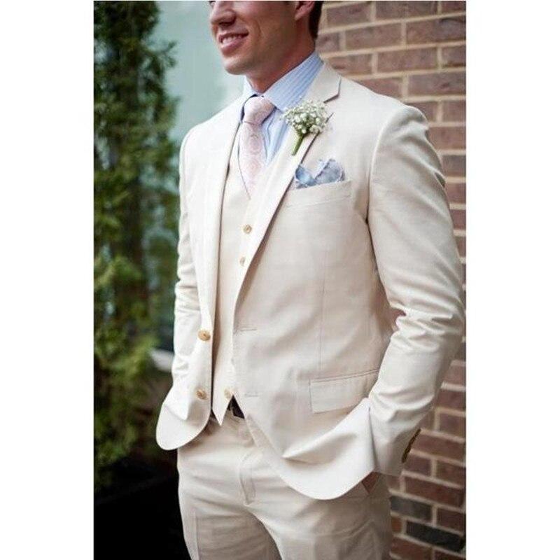 Beige Linen Beach Wedding Suits For Men Slim Fit 3 Pieces Groom Tuxedos Prom Men Suits (Jacket+Pants+Vest) 2