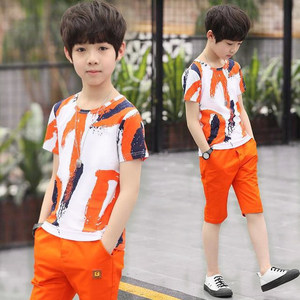 3 4 5 6 7 8 9 10 11 Years Boys Clothes Teen Boy Casual T Shirt Shorts Pants 2 Piece Children Clothing Set Summer Kids Clothes(China)