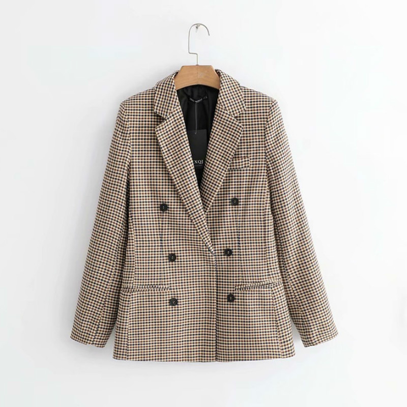 Autumn New Small Plaid Suit Jacket Female Slim-fit Double-breasted Full-sleeve Ladies Blazer Temperament Women's Suit 2019