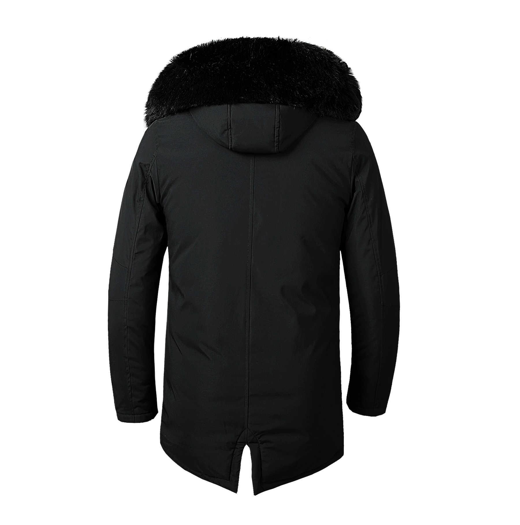 ผู้ชายฤดูหนาว Faux Fur Collar ยาวหนาผ้าฝ้าย Parkas เสื้อแจ็คเก็ตเสื้อผู้ชาย Hooded กระเป๋า Outwear แจ็คเก็ตกันน้ำ Parka ผู้ชาย