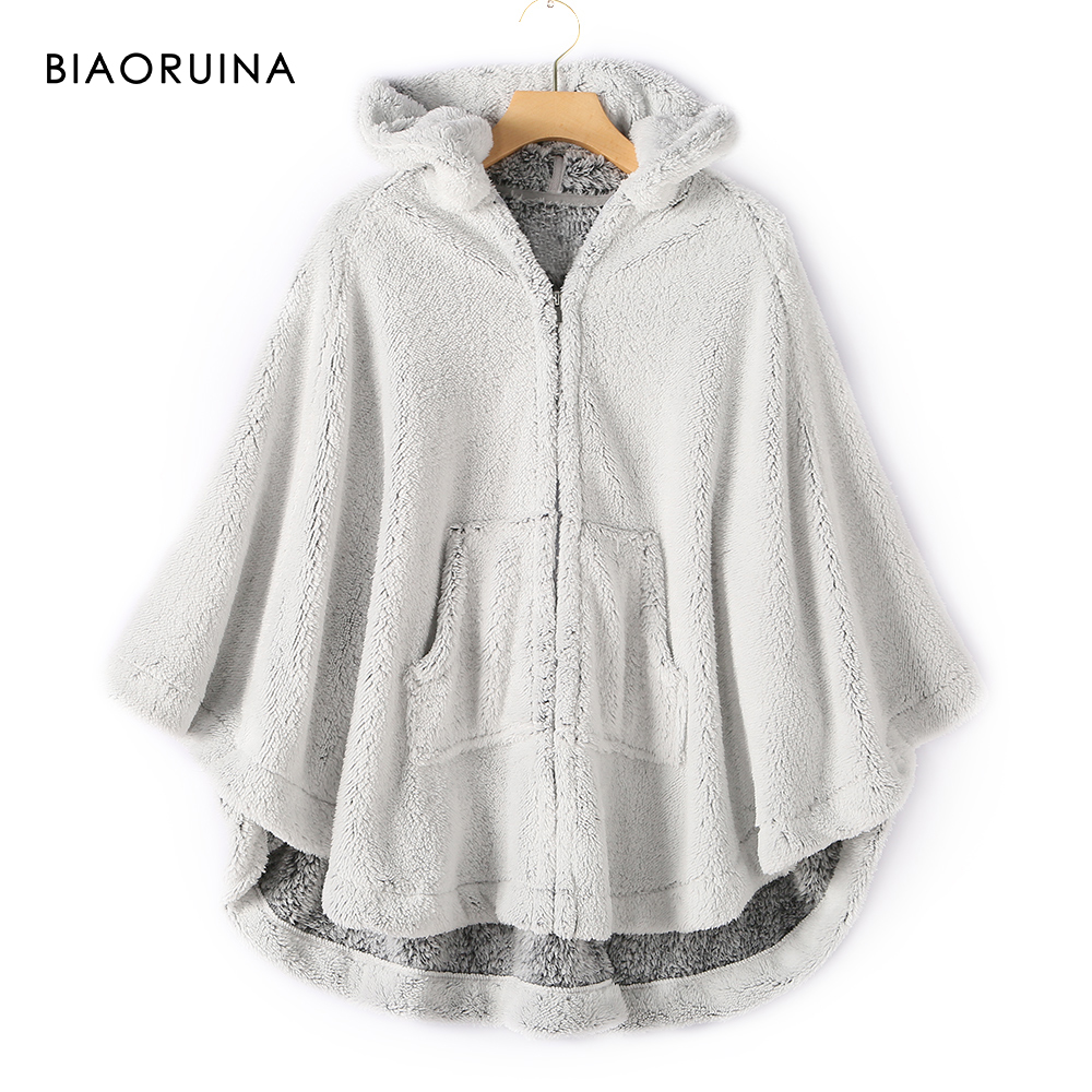 BIAORUINA Women's Flannel Fleece Grey Cape Batwing Sleeve Cartoon Ears Hooded Casual Poncho Female Sweet Fluffy Coat Jacket