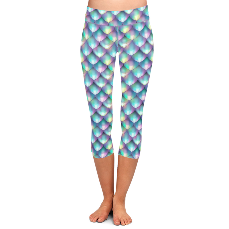 LETSFIND Summer New Women Sexy Capri Leggings 3D Fish Scales Print High Waist Plus Size Casual Mid-Calf Pants