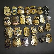 Badge de Cosplay en cuivre des états-unis 1:1, épingle à revers pour chemise de détective, taille réelle