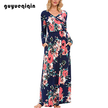 Guyueqiqin Dress Women Floral Fall Long Sleeve Pockets Elegant Casual Maxi Wrap