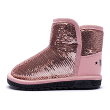 Fashion Girls Winter Snow Boots Sequined Vamp for Girl  New Childrens Warm Fur Non-slip Bottom