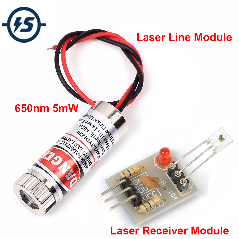 Red Line Laser Receive Sensor Module Laser LED Light Head Glass Lens Focusable Industrial Class 3-5V Adjustable Beam 650nm 5mW