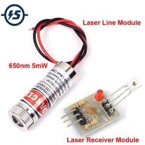 Red Line Laser Receive Sensor Module Laser LED Light Head Glass Lens Focusable Industrial Class 3-5V Adjustable Beam 650nm 5mW