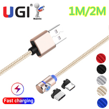 UGI 2 In 1 Magnetic Charging Cable Braided Wire Micro USB Type-C Charger Cord For Samsung Galaxy S8 S9 S9+ S10 S10+ S20 hdsail led light cable fast charging micro usb type c cable led wire cord type c charger for iphone 7 8 xs max samsung s10 s9 s8