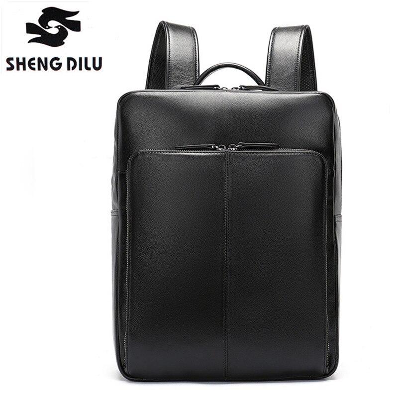Shengdilu Men's Travel Bag Black Backpacks for men Genuine Leather Backpack Male casual Backpack for laptop back pack bagpack