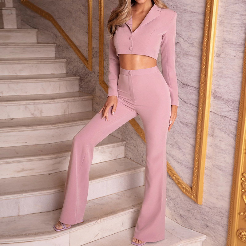 Women 2 Piece Set Sexy Off Shoulder Crop Top And Long Pants Summer Female Sets 2020 New Solid Short Sleeve Wide Leg Party Suits