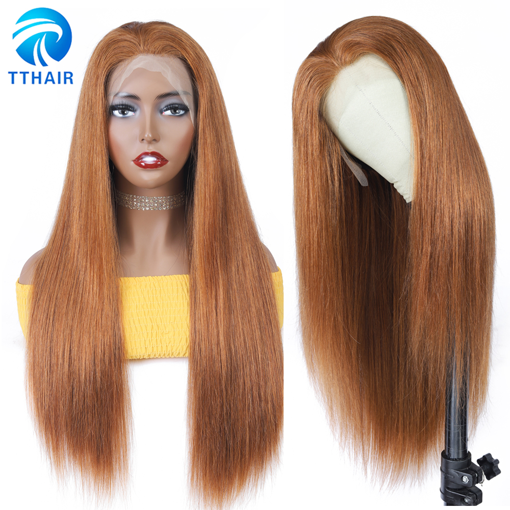 TTHAIR Ombre Human Hair Wig Straight Wig Frontal Wig Brown Lace Front Wigs Transparent Lace Wig Brazilian Remy 28 Inch For Woman