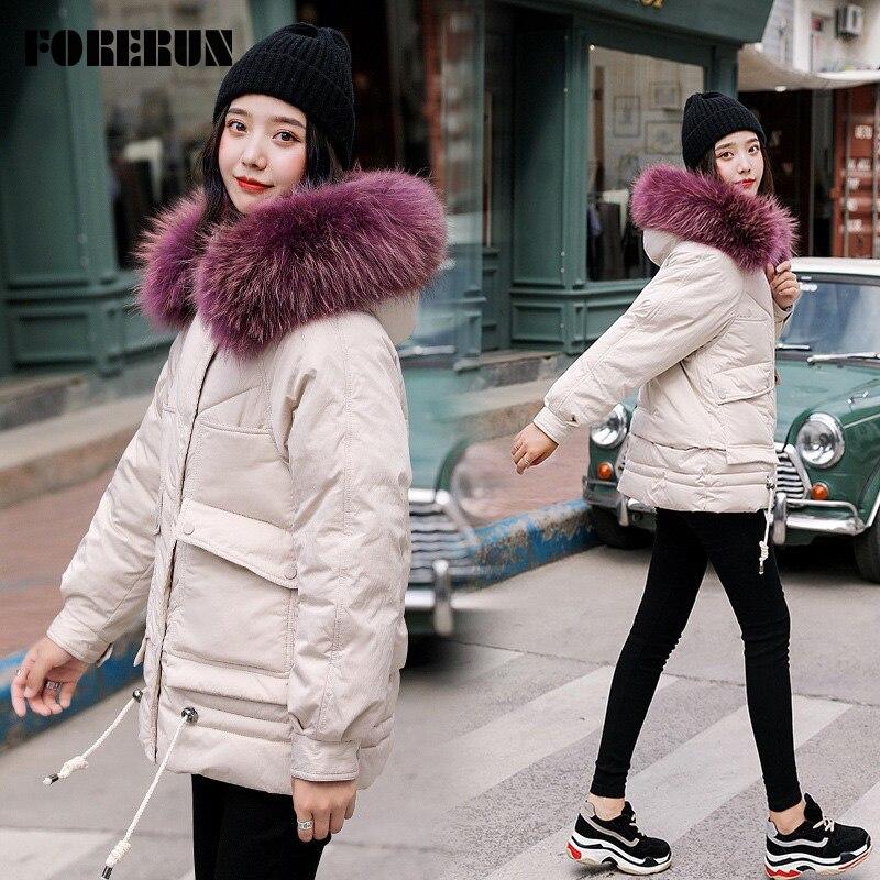 FORERUN manteau à capuche en fourrure véritable femme grande taille 5XL veste d'hiver femmes épais chaud vêtements d'extérieur Mujer Parka 2019-20 degrés