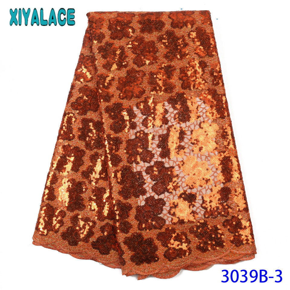 African Lace Fabric 2019 High Quality Lace Sequin Fabric Organza Laces Fabrics For Women Dresses KS3039B