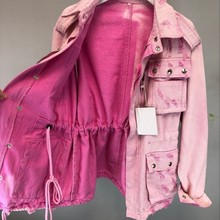 Pink Lace Up Zippers Denim Jacket Women Frayed Slim Fit Sashes Adjustable Jeans