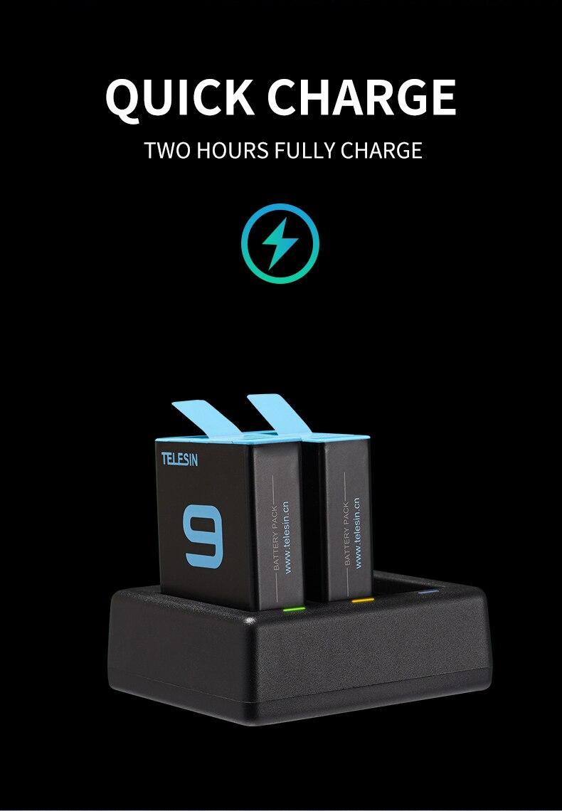 Telesin 2 pacote para gopro 9 bateria