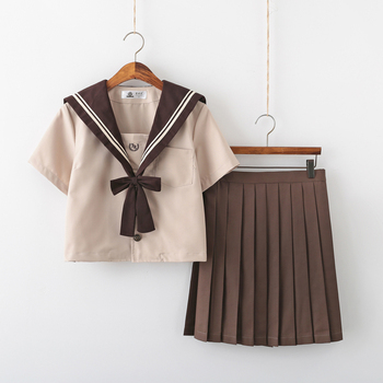 School girl Uniform Japanese Class Navy Sailor School Uniforms Students Clothes For Girls Anime COS Sailor Navy Suit Brown japanese school uniforms anime cos sailor suit tops bow tie skirt jk navy style students clothes for girl short sleeve