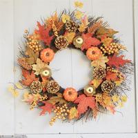 Artificial Pumpkin Berry Maple Leaf Wreath Door Hanging Wall Window Decoration Wreath Holiday Festival Halloween Decor 60cm