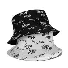New Spring Summer Sun Hat Letter Bucket Hat Black White Unisex Casual Fisherman Hat Fashion Street Bob