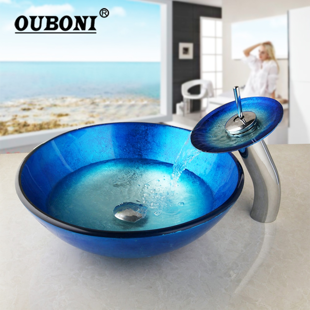 US Round  Tempered Glass Bathroom Vessel Sink Basin Bowl Drain Faucet Combo Set