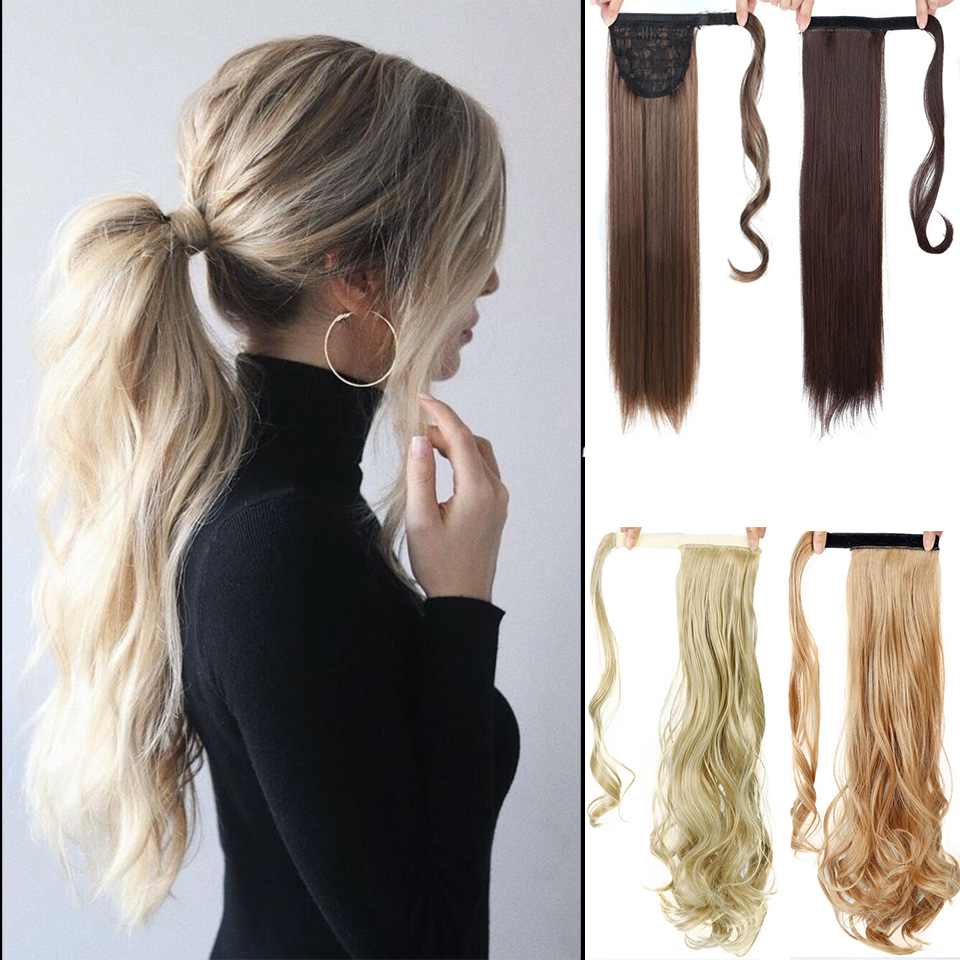 SHANGKE 24Long Straight Ponytail Clip In Pony Tail Hair Extension Extensions Wrap on Pieces Fake
