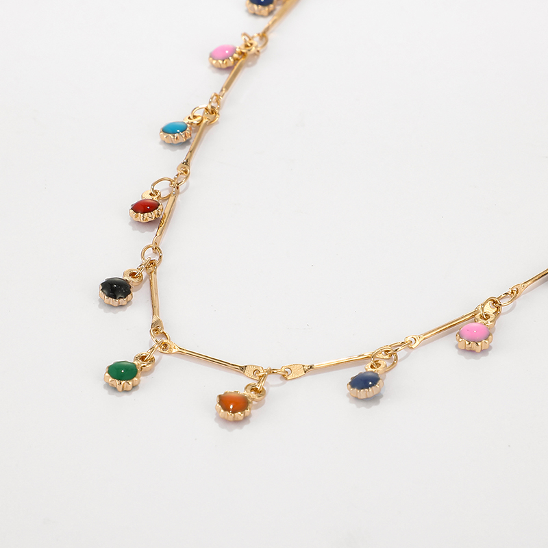Hac2ebef0d83544dfa474b7871619f80eE - Tocona Fashion Gold Necklace for Women Charming Colorful Stone Chain Chockers Handmade Party Jewelry Wholesale collares B31203