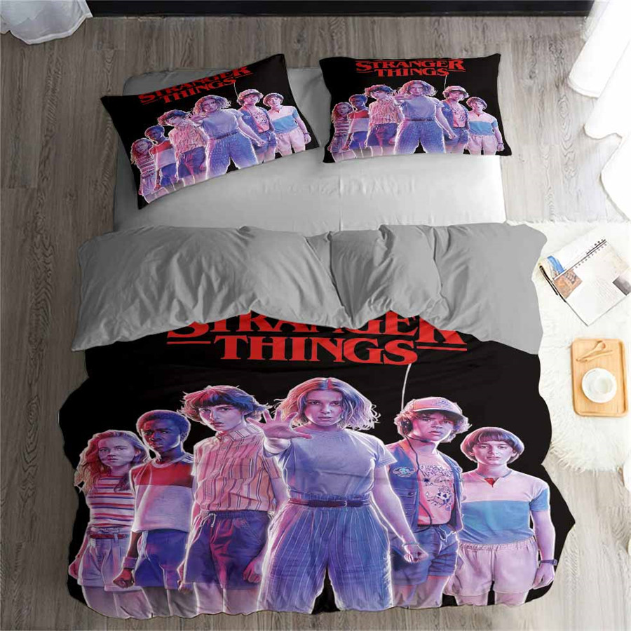 HELENGILI 3D Bedding Set Stranger Things Print Duvet Cover Set Bedcloth with Pillowcase Bed Set Home Textiles #GQWY-24