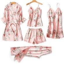 Satin Sleepwear Female with Chest Pads Sexy Women Pajamas Lace Sleep Lo