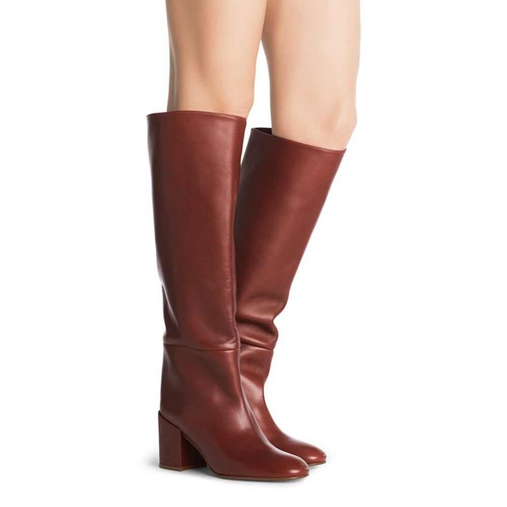 Slip Heel Leather Mid on Tall Boots