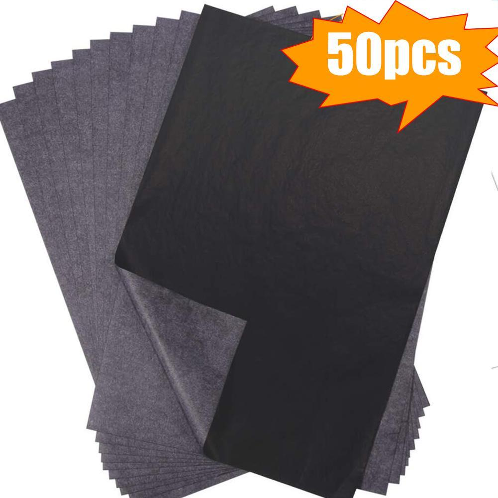 50Pcs/Set Carbon Papers Graphite Single-Sided Black Paper Painting Paper Reusable Painting Accessories Legible Tracing Paper New